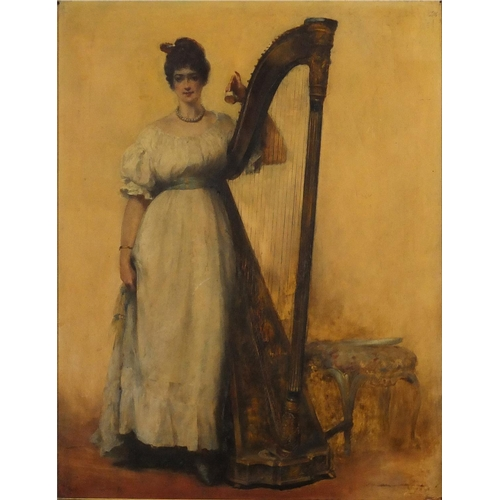 909 - Female beside a harp, antique oil on wood panel, inscribed verso, mounted and framed, 44.5cm x 34cm...