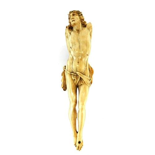 6 - Good 17th century carved ivory Corpus Christi, 21cm high...