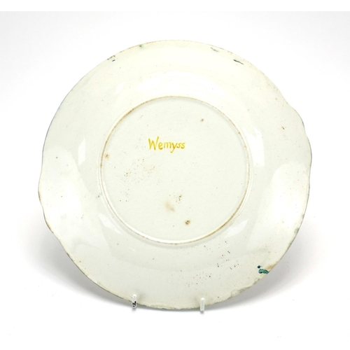503 - Wemyss Ware side plate hand painted with roses, painted Wemyss to the reverse, 25cm wide...