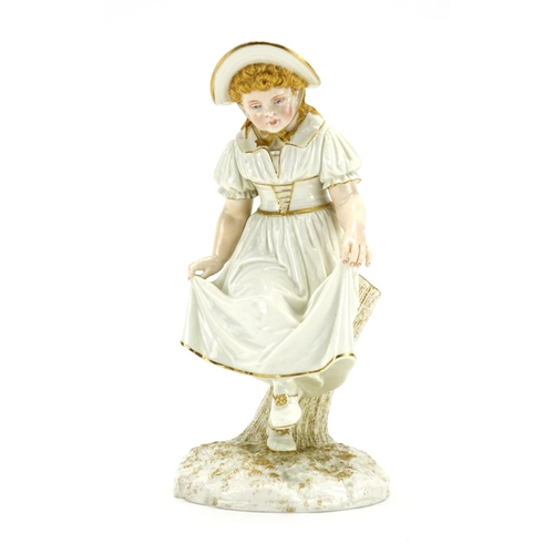 506 - 19th century Royal Worcester hand painted porcelain figure of a young girl, factory marks and number...