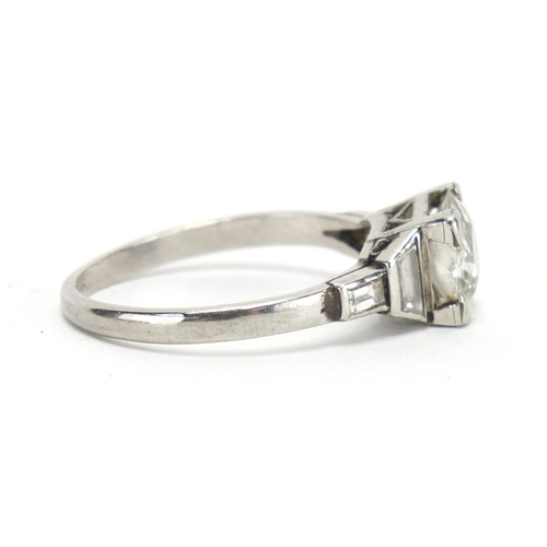 670 - Platinum diamond solitaire ring, with diamond set shoulders, size N, approximate weight 3.3g...