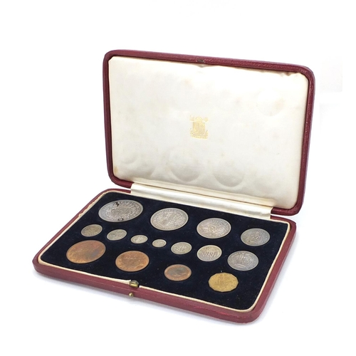 158 - George VI 1937 specimen coin set by The Royal Mint, housed in a velvet and silk lined tooled leather...