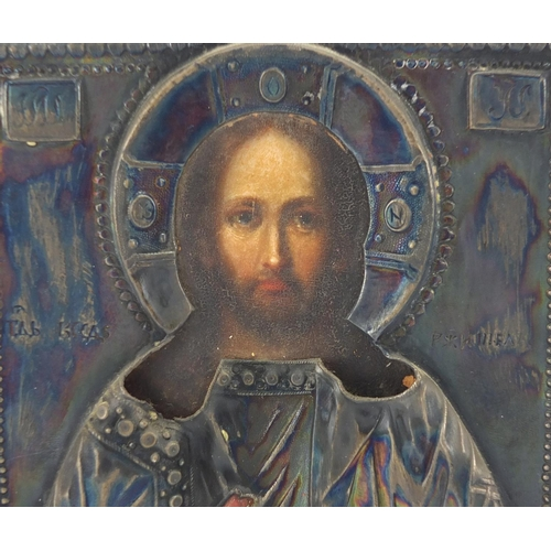 1 - 19th century Russian icon with silver overlay, finely hand painted with a priest, impressed marks IB...