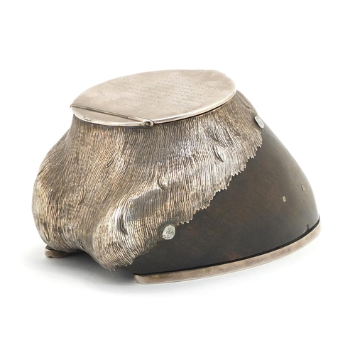 221 - British Military World War I horse hoof inkwell with silver coloured metal mounts by Rowland Ward of...