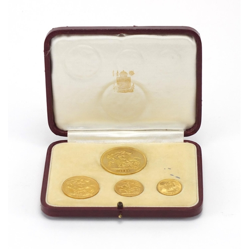 157 - George VI 1937 specimen gold coin set by The Royal Mint comprising five pounds, two pounds, sovereig...