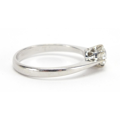 685 - Platinum diamond solitaire ring, size O, approximate weight 4.0g...