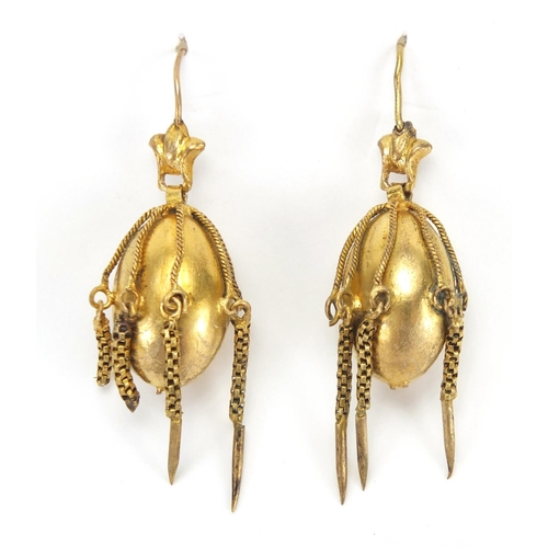 684 - Pair of Victorian gilt metal drop earrings, 4.4cm in length, approximate weight 6.0g...