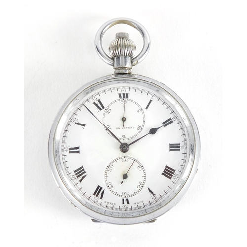 861 - Gentleman's Universal chronograph stainless steel pocket watch, the case numbered 75870, 5cm in diam...