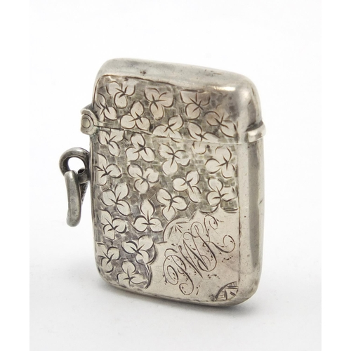 615 - Five rectangular silver vesta's with engraved floral decoration, Birmingham hallmarks, the largest 4...