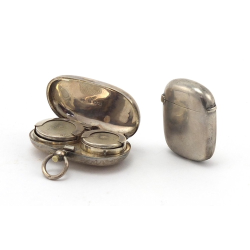 635 - Silver sovereign and half sovereign case and a rectangular silver vesta, Birmingham hallmarks, the l...