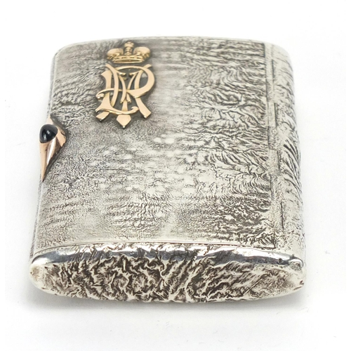 3 - Russian silver Samorodok with applied gold lettering, impressed marks 84 AE to the interior, reputed...