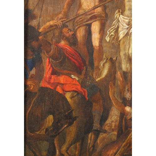 863 - Circle of Pieter Paul Rubens - Coup De Lancs, early 17th century oil on wood panel, framed, 64cm x 4...