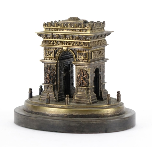 13 - 19th century Grand Tour patinated bronze model of Arc de Triomphe, with hinged compartment raised on...
