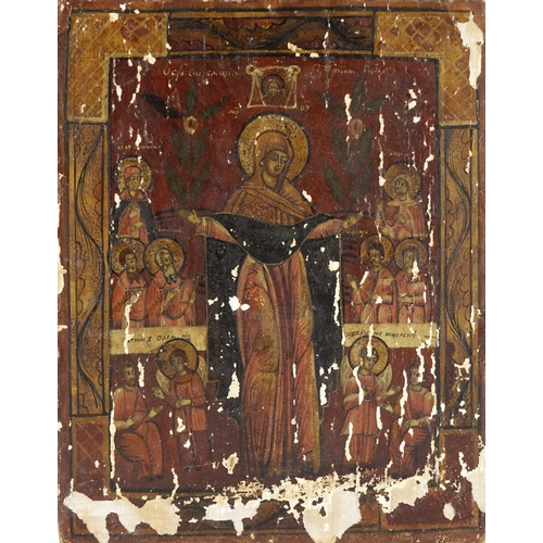 2 - Russian wall hanging hardwood icon hand painted with figures, 31.5cm x 25cm...