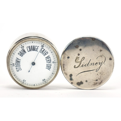 28 - 19th century silver pocket barometer, with enamelled dial and fitted case, indistinct hallmarks, 3cm...