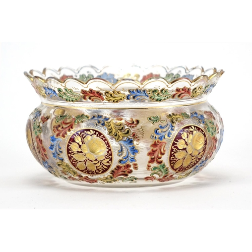 512 - Bohemian glass bowl enamelled and gilded with flowers, 12.5cm in diameter...