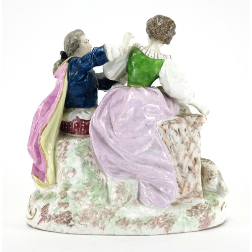 487 - 19th century continental hand painted porcelain figure group of a young courting shepherd and shephe...