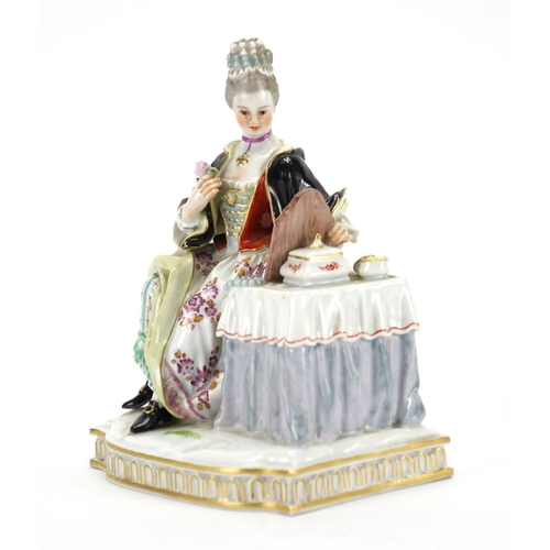 485 - 19th century Meissen hand painted porcelain figurine of a female seated at a dressing table, blue cr...