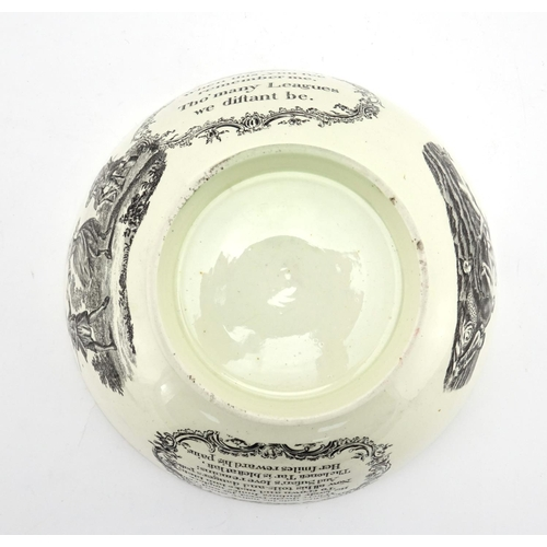 493 - 19th century William & Sarah Rusbridge creamware footed bowl, 22cm in diameter...