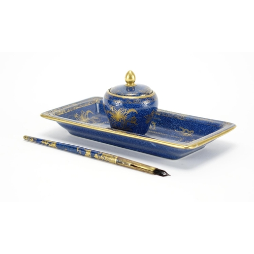 508A - Copeland Spode porcelain inkwell on stand with matching dip pen, each gilded with flowers and birds ...