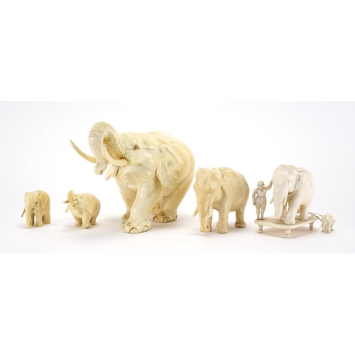 461 - Group of five carved ivory elephant including an Indian example with an Mahout the largest 20cm in l...