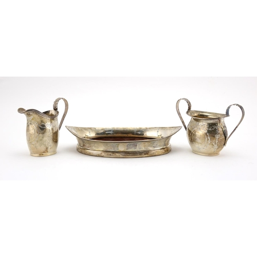 606 - Silver three piece cabaret set, engraved with swags and bows, various Chester hallmarks, the tray 20...