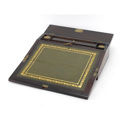 22 - Victorian rosewood writing slope with tooled leather insert, inset brass carry handles, Mother of Pe...