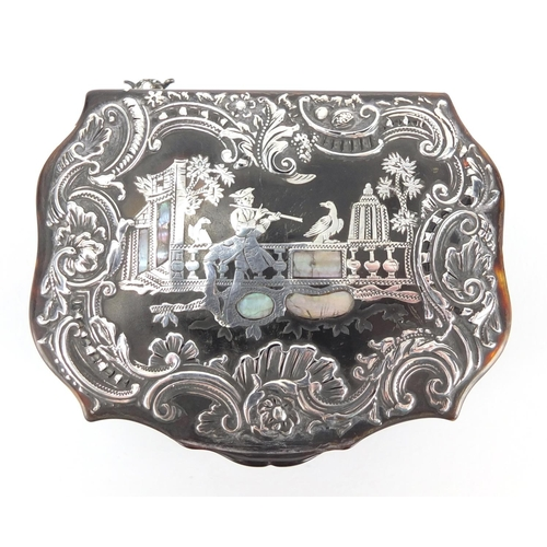 36 - Late 18th/Early 19th century tortoiseshell snuff box, the hinged lid inlaid with silver and mother o...