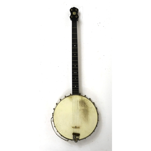 25 - A Weaver four string Banjo, housed in an A Weaver model leather case, 92cm in length...