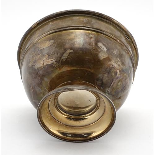 613 - Circular silver pedestal bowl by Arthur & John Zimmeran London 1912, 11cm high x 15.5cm in diameter,...