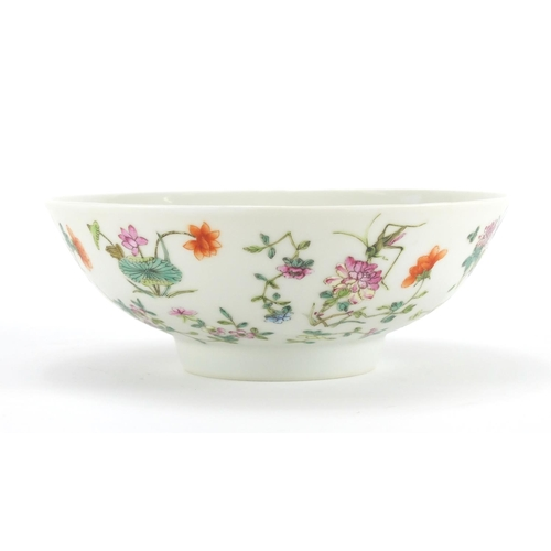 293 - Chinese porcelain footed bowl, finely hand painted in the famille rose palette with crickets amongst...