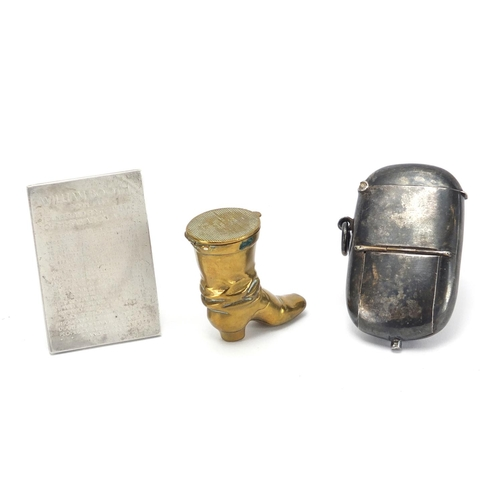44 - Miscellaneous objects comprising a general Booth silver coloured metal plaque with fitted case, bras...