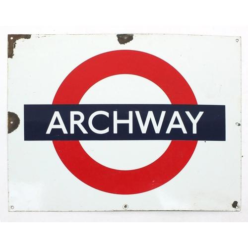 99 - Railwayana interest Archway enamel sign, 71cm x 56cm...