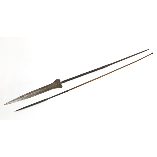 475 - Two tribal interest spears with steel heads, the largest 186cm in length...