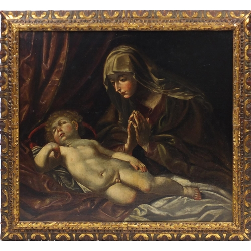 879 - Madonna and child, 18th century German school oil on canvas, housed in a gilt Gesso frame, 106cm x 9...