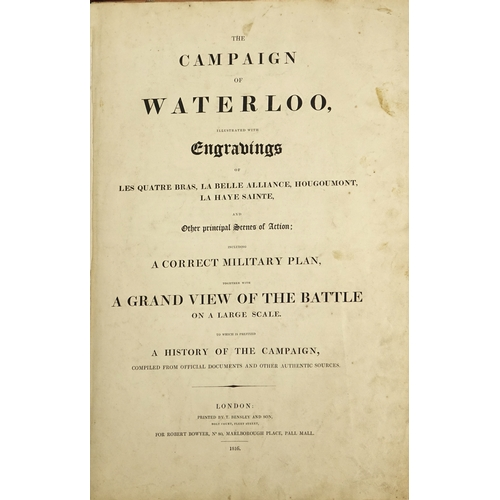 145 - The Campaign of Waterloo illustrated with engravings, 19th century folio printed London by T Bensley...