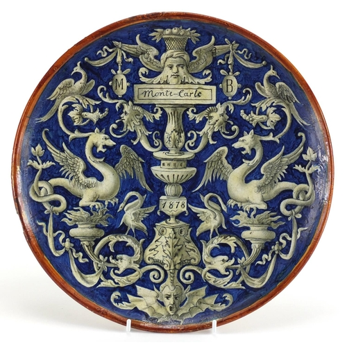 491 - Antique Cantagalli pottery plate, inscribed Monte Carlo, dated 1878, hand painted with two griffins ...