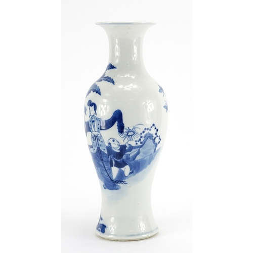 316 - Chinese blue and white porcelain baluster vase, hand painted with figures in a palace, blue ring mar...