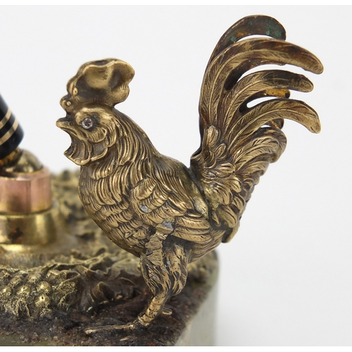 10 - Green onyx and bronzed cockerel design desk pen holder, 10.5cm high...