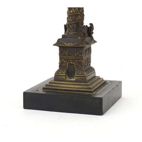 14 - 19th century Grand Tour patinated bronze model of Vendome column, raised on a square black slate bas...