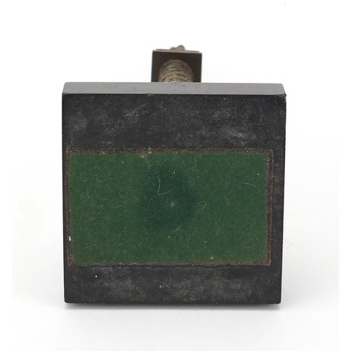 14 - 19th century Grand Tour patinated bronze model of Vendome column, raised on a square black slate bas...