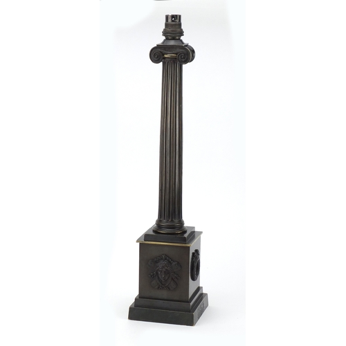 15 - 19th century French bronze lamp with Corinthian column, 47.5cm high...