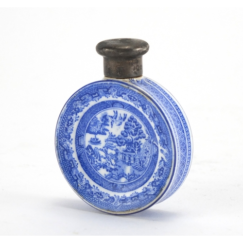 37 - Victorian porcelain scent bottle with silver lid, the bottle transfer printed in the chinoiserie man...