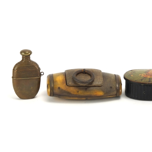 41 - Antique snuff boxes and vesta's including a brass bottle design vesta and horn snuff box, the larges...