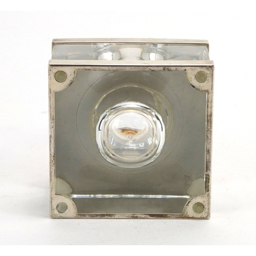 47 - Mont Blanc silver mounted glass inkwell with liner, 8cm high...