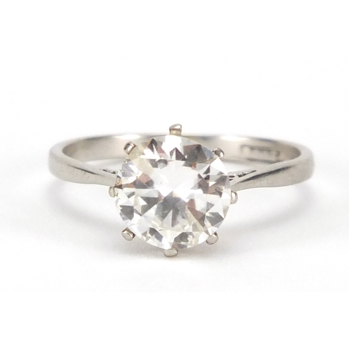 665 - Platinum diamond solitaire ring, size M, approximate weight 3.1g...