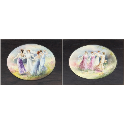 540 - Two Royal Doulton oval porcelain plaques each decorated with four maidens in a landscape, each mount...