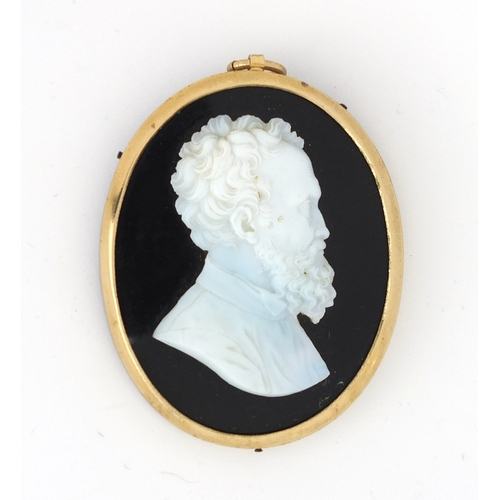 56 - 19th century oval glass paste profile of Michelangelo, framed, 5.7cm x 4.5cm...