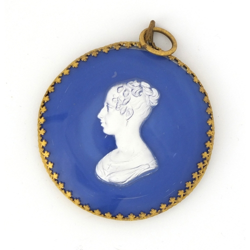 58 - 19th century blue opaline ground sulphide pendant plaque of the Duchesse Du Berri, probably Baccarat...