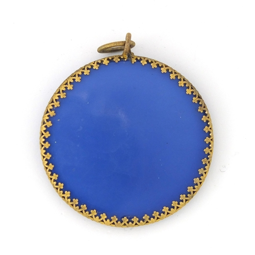 59 - 19th century blue opaline ground sulphide pendant plaque of Duc Du Berri, probably Baccarat, 5.7cm i...